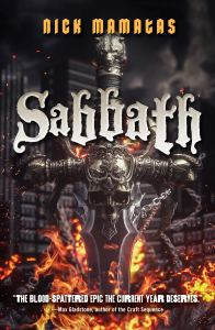 Book cover with a flaming sword with skulls on it, titled SABBATH